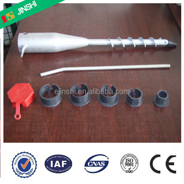 68*550MM No Dig Hot Dip Galvanized Adjustable Ground Screw Pole Anchor for Garden and Fence and Tent