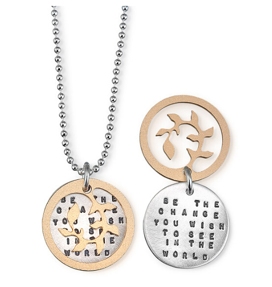 Wholesale Gold Plating Floral Pendant Silver Plated Customized Engraved Disc Stacking Handmade Message Necklace