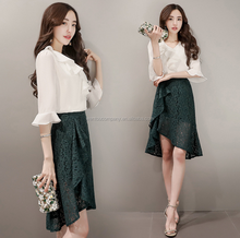 wholesale lastest design Korean chiffon short flared sleeve blouse and lace fishtail skirt suits