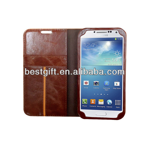 Personalised mobile phone leather case for s4 leather phone wallet with card slots
