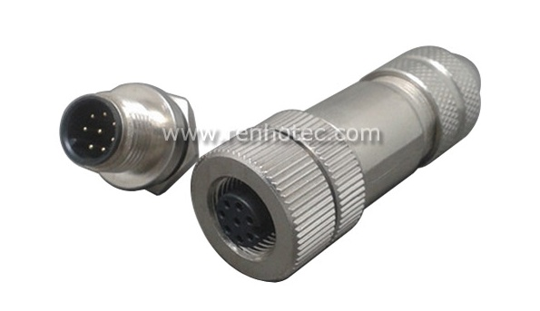 Metal cable plug and panel socket m12 8 pin connector pinout