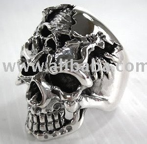 Gothic Skull Sterling Silver Rings Jewelry Death Design Mens Biker Jewellery Accessories