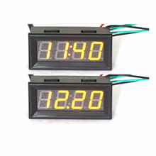 Mult-function 3 In Temperature Voltmeter Voltage Meter DC 12V 24V 0.56 Car Digital LED Display Gauge With Yellow