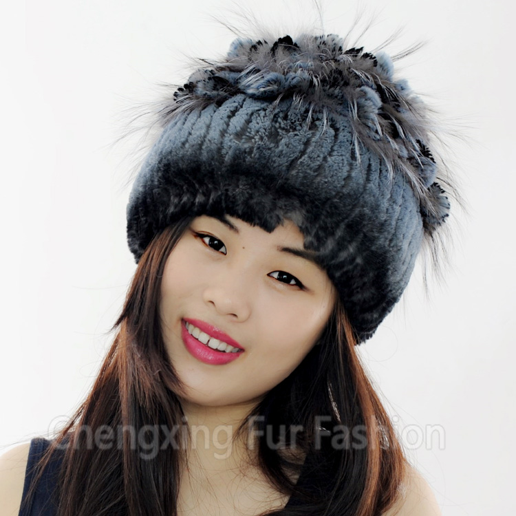 CX-C-135A Women Rex Rabbit Fur Russian Style Winter Cap