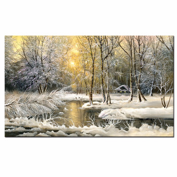 Snow Winter Picture Wall Art/Dreamlike Forest Canvas Print/Sunrise over River Painting on Canvas