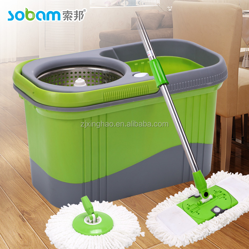 Dual function wash and dry hand press magic spin mop
