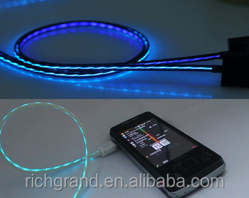 Visible Flowing Lights Data Cable for iPhone/ Samsung EL Glowing in The Dark Charging Cable