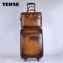 TERSE handmade travelling trolley luggage genuine leather suitcase men women custom design leather luggage
