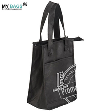 wholesale insulated custom frozen cooler lunch bag black color with long handle