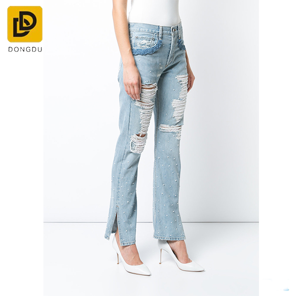 Customize blue cropped embellished holes fashion ladies jeans