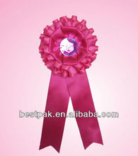 2013 pink polyester flower ribbon brooch