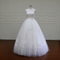 XF16032 luxury transparent floor length lace bridal wedding ball gowns