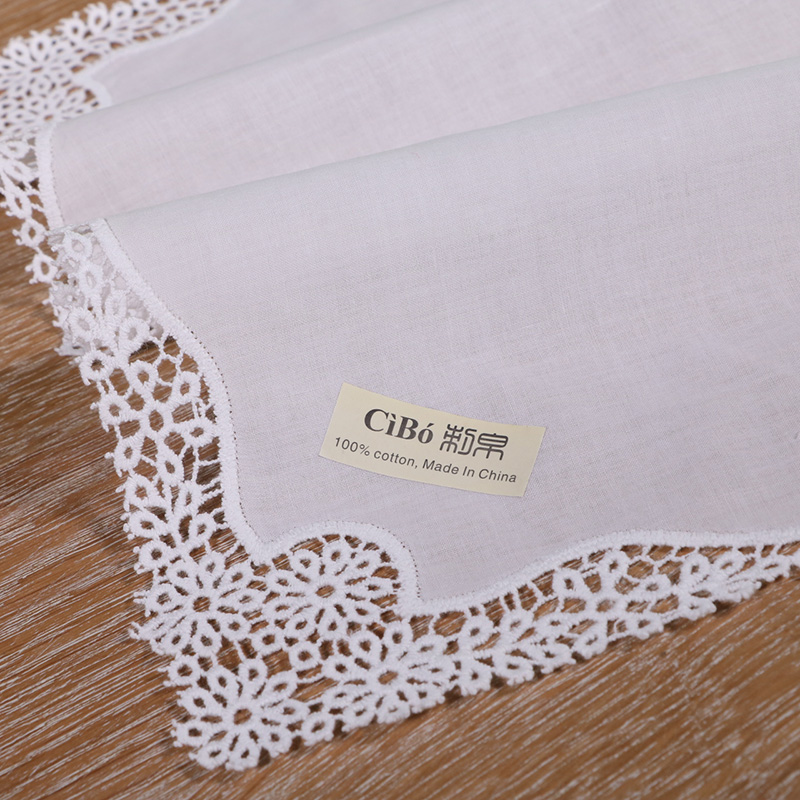 <strong>A006</strong>: White premium cotton lace handkerchiefs crochet hankies for women/ladies wedding gift