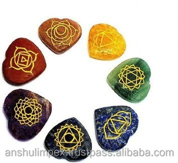 Chakra Heart Set Engraved with Reiki Carvings for healing