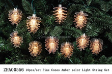 10pcs/set pine cones amber solar led string light