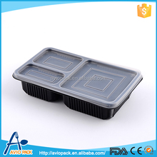 Black plastic PP container for food with compartments