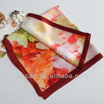 flower pattern Chinese ink painting silk scarf