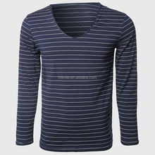 Stripe T Shirts Men Long Sleeve Scoop Neck Casual T-Shirt Regular Fit Basic Tees Shirts tshirts Printing Wholesale Custom