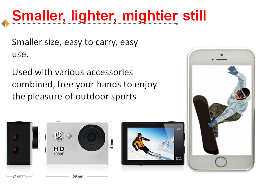 Best Promotion Gift A9 Full HD waterproof 30M 720P sports camera