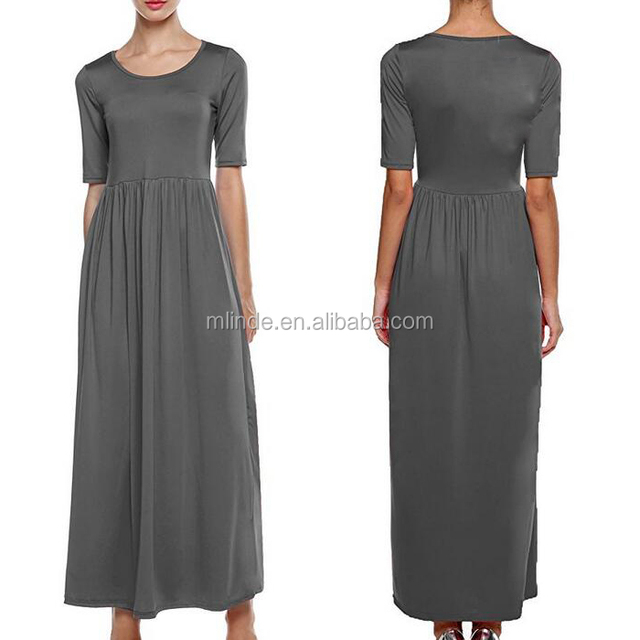 Custom wholesale women fashion plus size clothing solid maxi 3/4 sleeve full length tall modern evening party dress