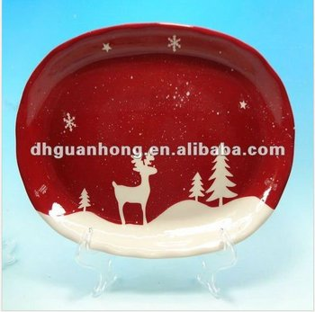 2012 novelty red ceramic Christmas plate