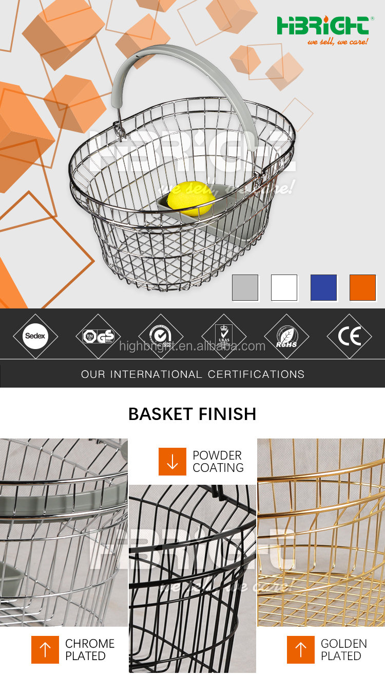 grocery pharmacy store steel wire oval shopping hand basket with semi-circle plastic tray