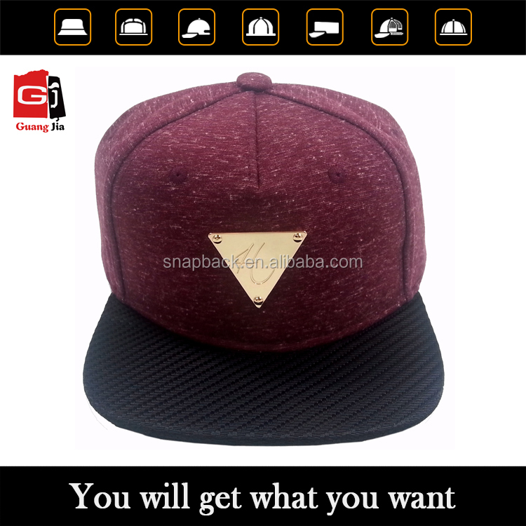 China factory OEM make burgundy fashion gold plate snapback cap hat with custom brim wholesale