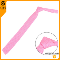 Custom Concise Fashion Falt Head Plain Solid Color Polyester Tie Knit For Men