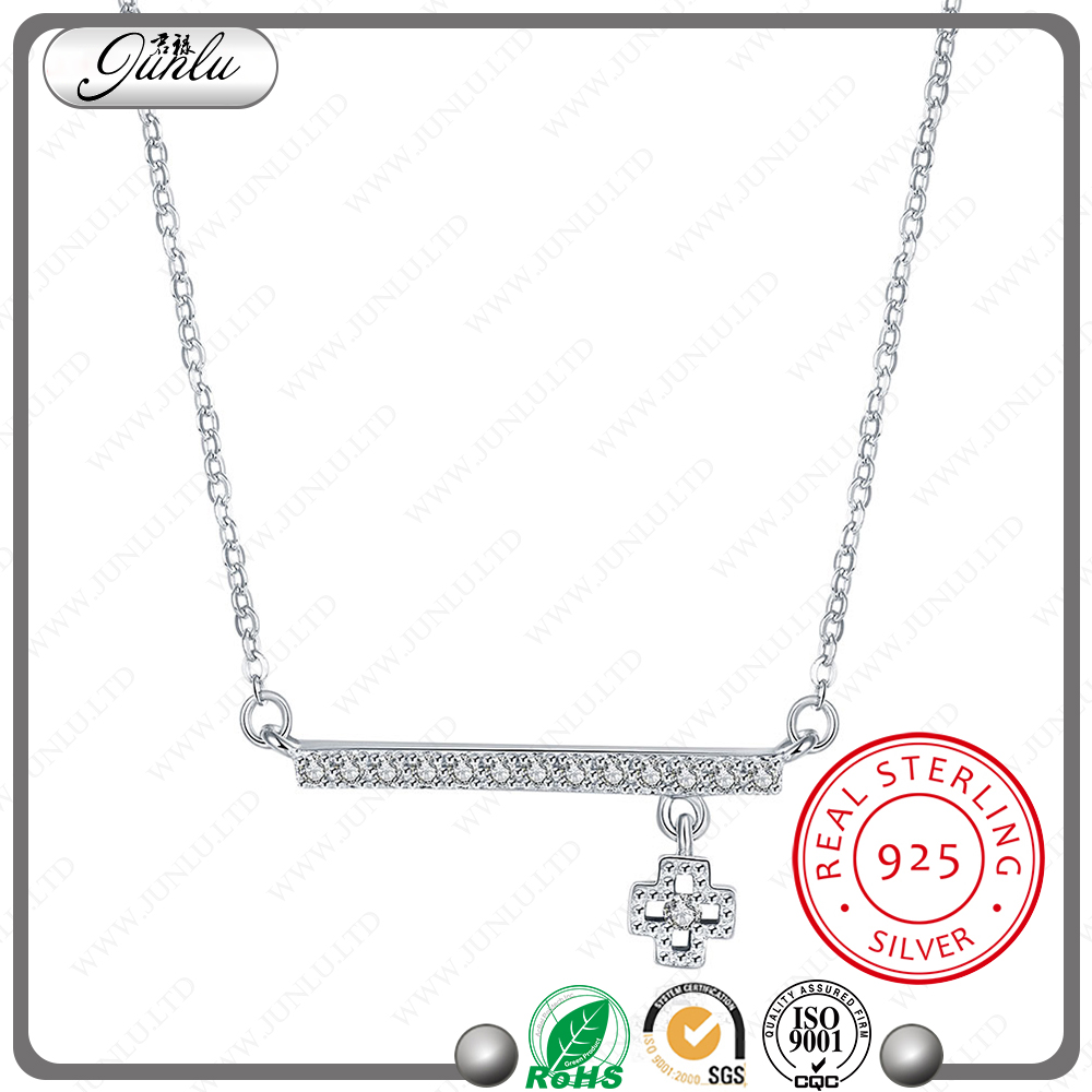 high quality one word design Pendant necklace white zircon jewelry fashion silver 925 necklace