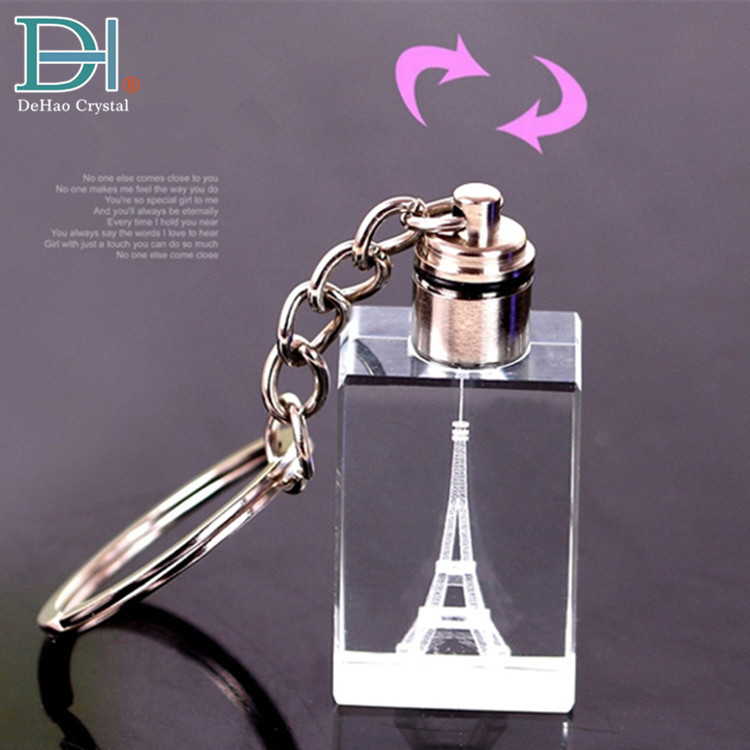 Fashion Gifts 3D Laser Engraving LED Keychain <strong>Crystal</strong>