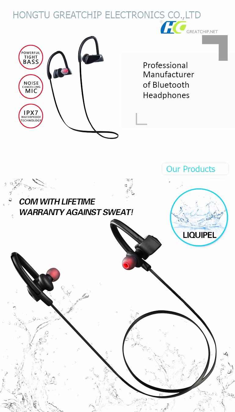 HT-U12 waterproof bluetooth earbud noise cancellation,IPX7 swimming Waterproof bluetooth headphones V4.1