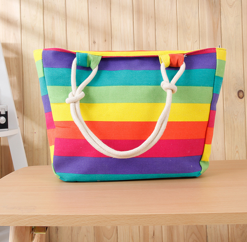 New Summer Canvas Handbag Striped Rainbow Candy Prints Beach Bags Shipping Bag Tote Women Ladies Girls Shoulder Handbags