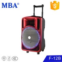 Acoustic speaker factory Analog amplifier solution trolley speaker with flash light /bluetooth /USB/SD/FM