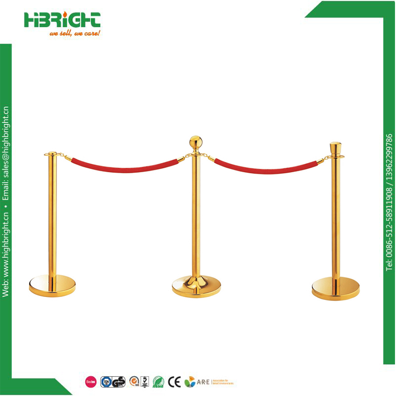 Red velvet rope metal crowd control barrier gold brass line stanchions and ropes for sale