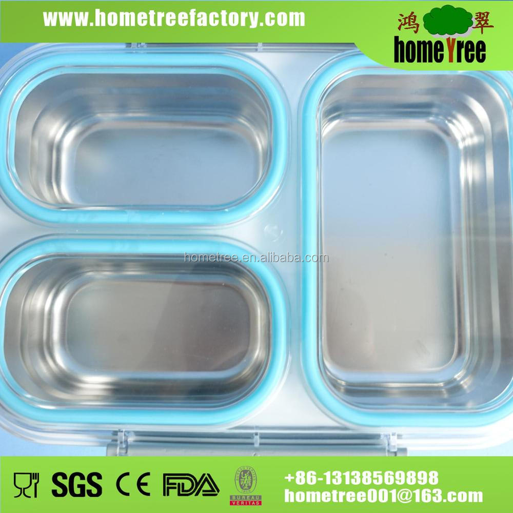 Stainless Steel 3 Compartment insulated Lunch Box With leakproof Silicone