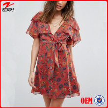 European Designer Ladies Short Chiffon Dress for Summer Fashion