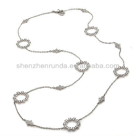 Wholesale Fashion Charm Cheap Luscious Stainless Steel Lacy Filigree Circle and Diamond-Shaped Station Necklace Jewelry