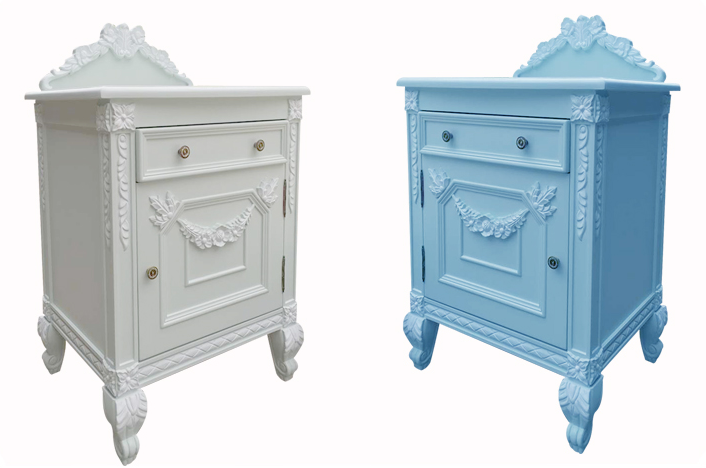 French Provincial Wooden Hand Carved White & Blue Nightstand Table/ Antique Vintage Princess Bedside Table