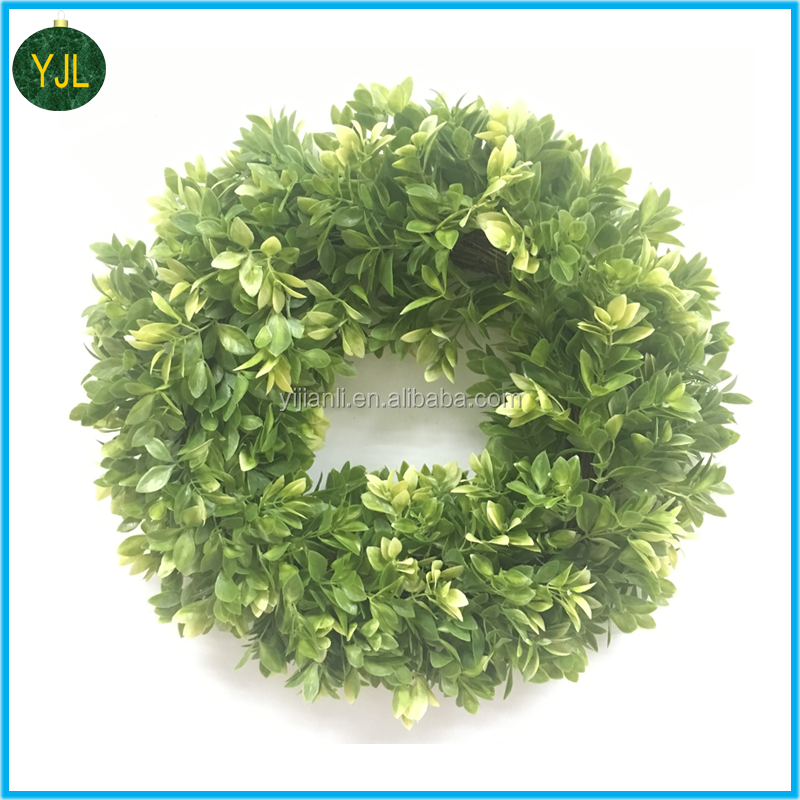 Hot sale Green Artificial decoration boxwood Leaves Wreath