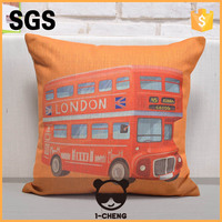 Vintage bus design home textile pillow