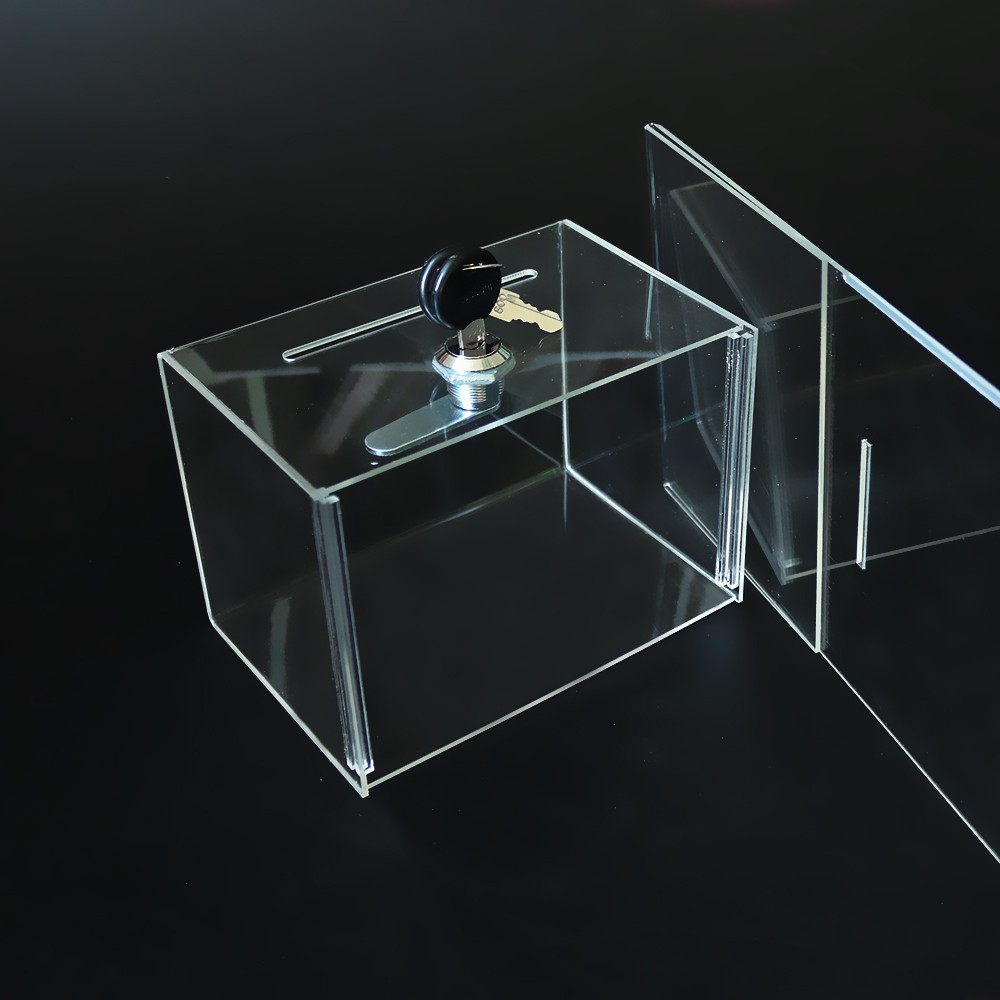 Wholesale Clear Acrylic Charity Donation Box with Lock (3).jpg
