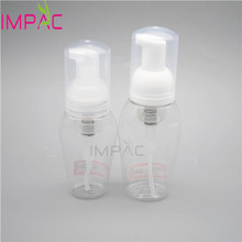 Plastic portable PET soap foaming bottle with clear white foaming pump
