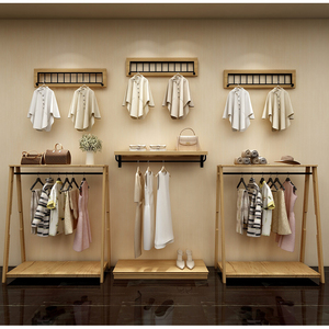 Wood clothes display rack for clothing shop display