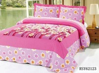 wholesale flower printed patchwork quilt, quilt for adult beds with pillow