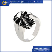 RR0090 fashion jewelry 316l stainless steel black oxidized male skull ring