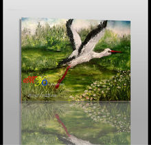 white crane oil painting on canvas new design