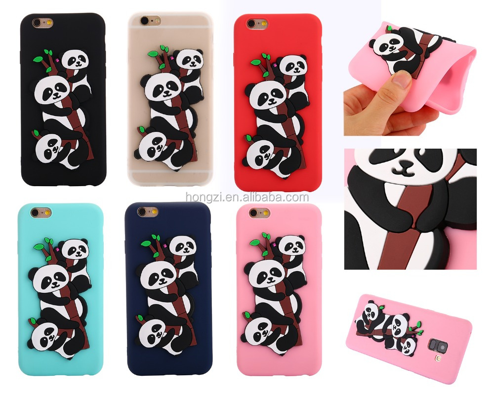 3D Cartoon Animals Korea cute Panda soft silicone case cover For iphone 5 6 7 8 X