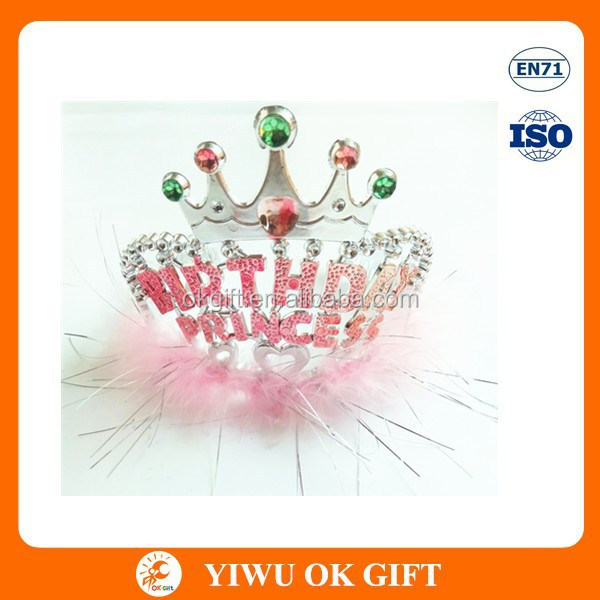 plastic birthday party crown with feather, wholesale plastic tiara crown, happy birthday tiara