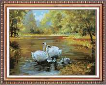 swan on the river embroidery kit diy crystal diamond mosaic painting