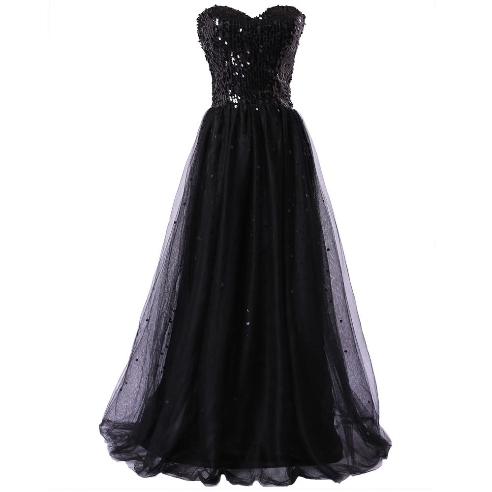 Get Quotations · Grace Karin Elegant Prom Dresses Black Sequined Tulle  Formal Dresses Vestidos De Festa Vestido Longo CL3459 e80b3055fd49